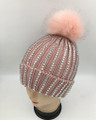 New! Knit  Rhinestone Hats with Fur Ball Assorted Dozen #H1241