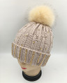 New! Knit  Rhinestone Hats with Fur Ball Assorted Dozen #H1242
