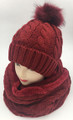 New! Knit Cable Beanie with Faux Fur Pom Infinity Scarf Sets Burgundy #HS1226-9