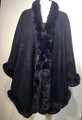New! Elegant Women's - Faux Fur  Poncho Cape Navy # P220-7