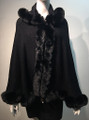 New! Elegant Women's - Faux Fur  Poncho Hooded  Cape Black # P221-1