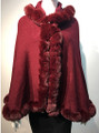 New! Elegant Women's - Faux Fur  Poncho Hooded  Cape Burgundy # P221-6