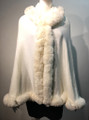 New! Elegant Women's - Faux Fur  Poncho Hooded  Cape Ivory # P221-7