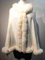 New! Elegant Women's - Faux Fur  Poncho Hooded  Cape Ivory # P221-7