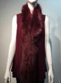 New! Elegant Women's - Faux Fur  Poncho Vest  Cape Burgundy # P222-7