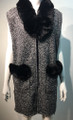 New! Elegant Women's - Faux Fur  Poncho  Cape Gray / Black # P223-1