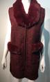 New! Elegant Women's - Faux Fur  Poncho  Cape  Burgundy # P223-4