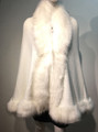 Elegant Women's - Faux Fur  Poncho Cape WHITE # P207A-9