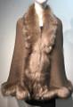 Elegant Women's - Faux Fur  Poncho Cape Taupe # P207B-6