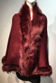 Elegant Women's - Faux Fur  Poncho Cape Red # P207B-5