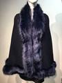 Elegant Women's - Faux Fur  Poncho Cape Navy # P207B-4