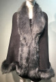 Elegant Women's - Faux Fur  Poncho Cape Gray # P207B-3