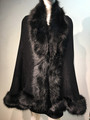 Elegant Women's - Faux Fur  Poncho Cape Black # P20AL-1
