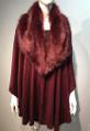 Elegant Women's - Faux Fur  Poncho Cape  Red # P204-7