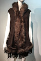 New! Elegant Women's - Faux Fur  Poncho Hooded Cape Coffee # P205-7