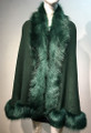 Elegant Women's - Faux Fur  Poncho Cape Green # P207B-11