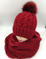 New! Fashion Knit Hats with Fur Ball Infinity Scarf Sets Assorted Dozen #HS1255