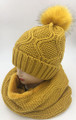 New! Fashion Knit Beanie with Faux Fur Pom Infinity Scarf Sets Mustard #HS1254