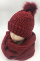 New! Fashion Knit Beanie with Faux Fur Pom Infinity Scarf Sets Burgundy #HS1254