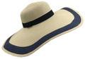 Fashion Wide Brim Adjustable Straw Sun Hat Navy # H 8057-3