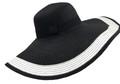 Fashion Wide Brim Adjustable Straw Sun Hat Black # H 8057-4