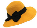 Fashion Foldable Straw Sun Hat Yellow # H 8060-5