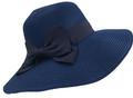 Fashion Foldable Straw Sun Hat Navy # H 8060-6