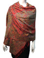 New!  Multicolor Paisley Pashmina Red Dozen #12-2