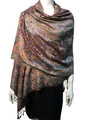New!  Multicolor Paisley Pashmina Coffee  Dozen #12-4