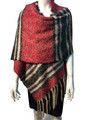 New !   Fashion Long Soft Plaid warm Shawl Scarf  Burgundy # 985-6