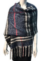 New !   Fashion Long Soft Plaid warm Shawl Scarf  navy # 985-5