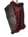 New! Elegant Women's - Faux Fur  Poncho  Cape  burgundy # P239-3