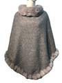 New! Elegant Women's - Faux Fur  Poncho  Cape  gray # P239-4