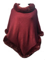 New! Elegant Women's - Faux Fur  Poncho  Cape  burgundy # P243-6