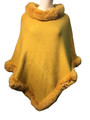 New! Elegant Women's - Faux Fur  Poncho  Cape  yellow # P243-5