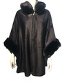 New! Elegant Women's - Faux Fur  Poncho  Cape Black # P237-1