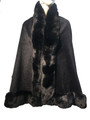 New! Elegant Women's - Faux Fur  Poncho  Cape Black # P238-1
