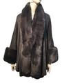New! Elegant Women's - Faux Fur  Poncho  Cape Light Gray  # P241-4
