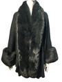 New! Elegant Women's - Faux Fur  Poncho  Cape Dark Green  # P241-5