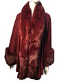New! Elegant Women's - Faux Fur  Poncho  Cape Burgundy  # P241-6