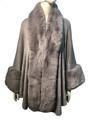 New! Elegant Women's - Faux Fur  Poncho  Cape Light Gray  # P241-7