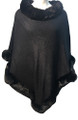 New! Elegant Women's - Faux Fur  Poncho  Cape  Black # P243-1