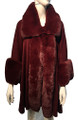 New! Elegant Women's - Faux Fur  Poncho  Cape   Dark Burgundy # P242-6