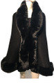 New! Elegant Women's - Faux Fur  Poncho  Cape   Black # P207B-1