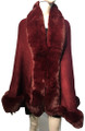New! Elegant Women's - Faux Fur  Poncho  Cape   Burgundy # P207B-2