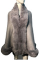 New! Elegant Women's - Faux Fur  Poncho  Cape   Gray # P207B-4