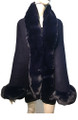 New! Elegant Women's - Faux Fur  Poncho  Cape   Navy # P207B-5