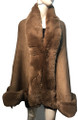 New! Elegant Women's - Faux Fur  Poncho  Cape   Taupe # P207B-6