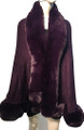 New! Elegant Women's - Faux Fur  Poncho  Cape Purple # P207B-7