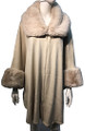 New! Elegant Women's - Faux Fur  Poncho  Cape Beige # P244-2